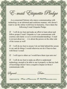 Email Etiquette Pledge Certificate