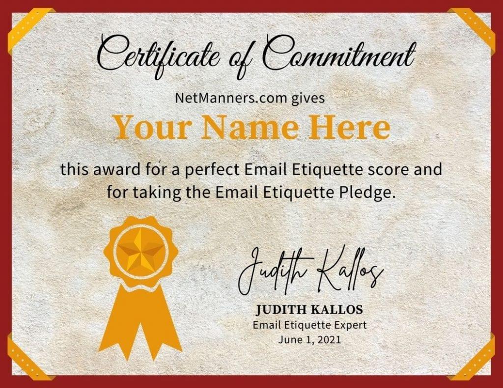 Email Etiquette Quiz Pledge Certificate
